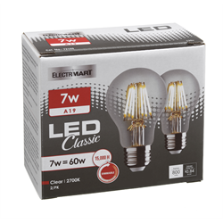 CATHELLE 7W A19 FILAMENT LED 3000K DIMMABLE-2PK